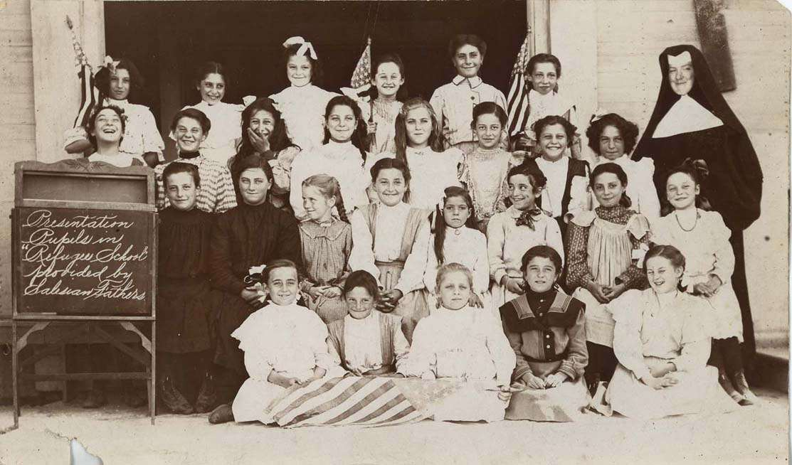 Sister Canice O'Shea, PBVM with her students at the 1906 Earthquake Refugee School run by the Salesian Fathers in North Beach. Photograph courtesy of Presentation Archives, San Francisco.